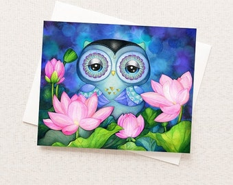 Owl in Lotus Pond - Watercolor Floral Greeting Card - Blank Inside with Matching White Envelope