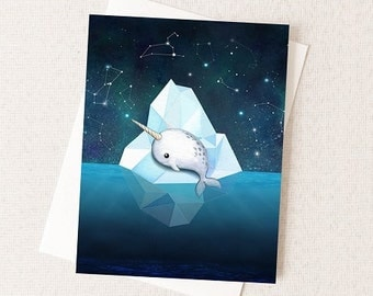Baby Narwhal on Iceberg Card - Starry Sky Painting - Blank Inside