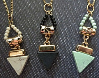 Triangle two layer strand pendant necklace. Black, White, Mint, trendy, summer, boho, cochella, festival, sale ,simple, everyday, under 20