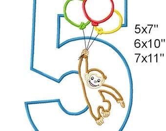 Monkey Balloons 5 Birthday Machine Embroidery Applique Digital Pattern 5x7 6x10 7x11 INSTANT DOWNLOAD