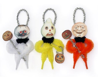 Chenille Ornaments - Handmade Vintage Style Halloween Ornaments