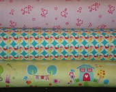 3 Piece Bundle Sweet Home and Girl Crazy prints by Riley Blake. Quilting Cotton Fabric, Fat Quarter Yards