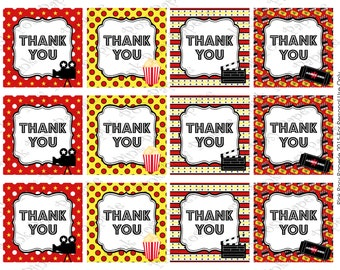 Printable Movie Night Thank You Tags - Instant Download