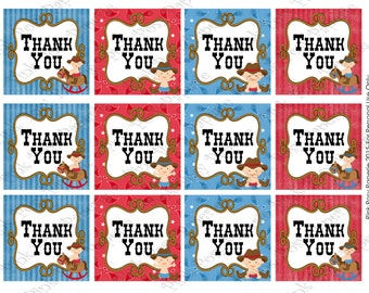 Printable Baby Cowboy Thank You Tags - Instant Download