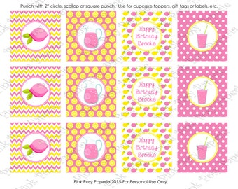 Printable Pink Lemonade Stand Birthday Cupcake Toppers - Personalized