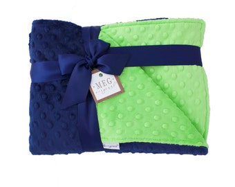 Navy Blue & Lime Green Minky Dot Baby Boy Crib Blanket, 989