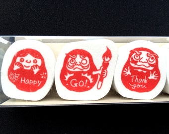Japanese Rubber Stamp Set - Dharma Dolls  Rubber Stamps - Traditional Japanese  - Set of 5