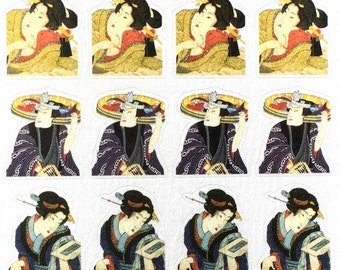 Japanese Stickers - Kabuki Stickers - Traditional Japanese Stickers - Japanese Theater Stickers  - Chiyogami Paper Stickers  (S94)