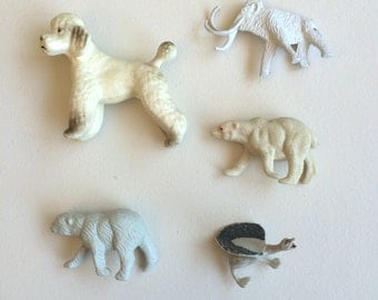 All in White Plastic Animals from Hong Kong