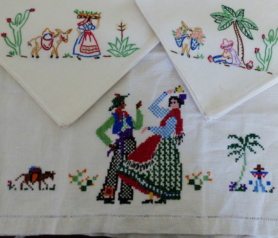 Napkins Hand Embroidered Towels Runner Lot 6 Mexican Spanish
