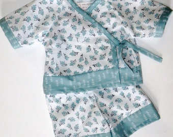 READY TO SHIP Baby Kimono Play Set - Little Blue Branches