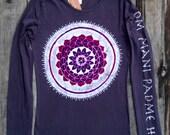 Batik Mandala Om Mani Padme Hum eco yoga t-ahirt long sleeved women hand painted vintage black