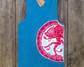 Shiva batik yoga ribbed tank top men turquoise hand drawn hand painted & hand dyed - yoga clothes - sizes XS, S, M, L, XL