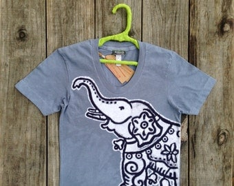 Elephant - Tops & Tees - Batik yoga top handmade women nickel gray