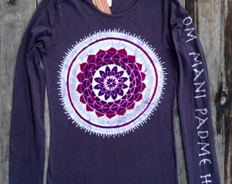 Batik Mandala Om Mani Padme Hum eco yoga t-ahirt long sleeved women hand painted vintage black