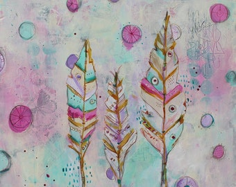 "Dream like Abstract  ""Good Things Come In Threes"" Feather painting on wood 20 x 20 by Jodi Ohl"