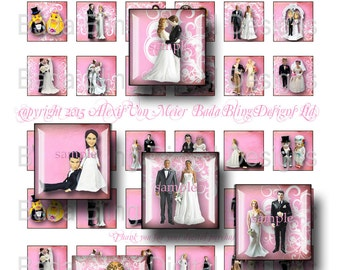 Wedding Day, bridal images, bridal collage sheet, inchies,  INSTANT Digital Download at Checkout, vintage bride and groom,bridal jewelry