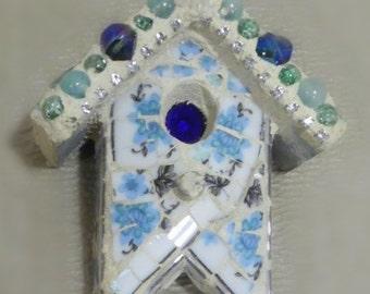 broken china mosaic stained glass teeny tiny birdhouse