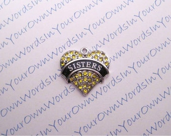 Custom Sisters Charm Crystal Antique Silver Heart Personalized Pendant