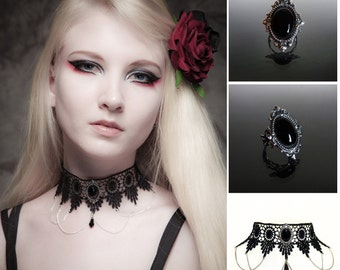 Black Onyx gothic lace choker and filigree ring set - SINISTRA choker and matching antique silver ornate gothic Black Onyx ring