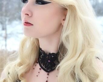 Steampunk necklace gothic lace choker, Amethyst purple Swarovski NOCTURNE  goth