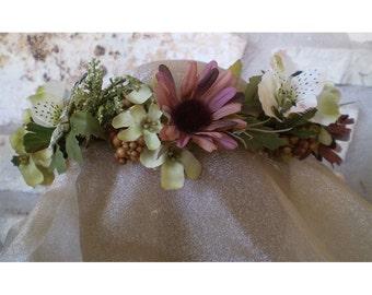 floral head wreath boho bridal flower crown faerie renaissance costume women's hair accessory wedding head piece ritual wear fairy cosplay