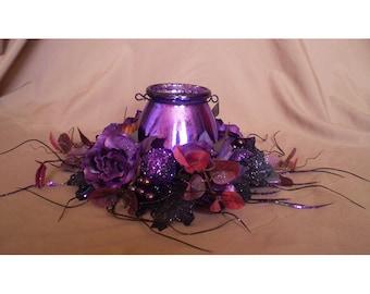 Halloween floral arrangement purple flowers spooky home decoration candle centerpiece flower wreath table arrangement mercury glass lantern