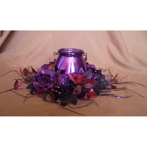 Items similar to purple candle holder floral wreath table