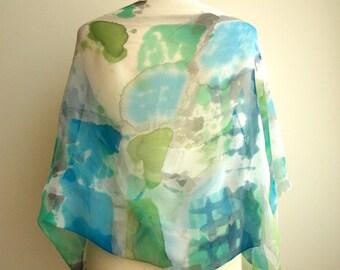 Silk chiffon blouse hand painted - Silk scarf-Wedding blouse-kimono-Silk handpainted-Silk scarf-Ooak silk blue green blouse