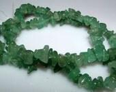 "Green Aventurine Semi Precious Chips 15"" Strand Medium Size Chips for Jewelry Making Supplies"