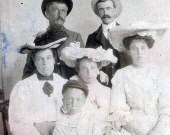 vintage photo 1909 Mother Children Men Family Portrait