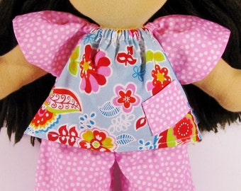 Waldorf doll clothes, mod floral and pink dots outfit for your 14, 15 or 16 inch doll