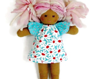 Turquoise and red doll dress for your 10 to 12 inch Waldorf doll, optional jeans, handmade doll clothing for Waldorf dolls