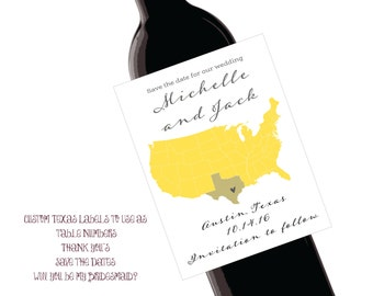 4x5 Texas Save the Date Custom Wine Labels