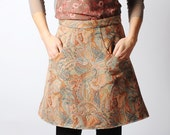 Short skirt with pockets, pink, beige, grey paisley fabric, sz UK 10