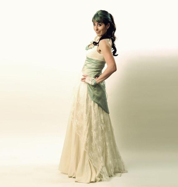 Aqua Wedding Dress with swallowtail lace-up - Mermaid wedding gown - alternative wedding dress CUSTOM