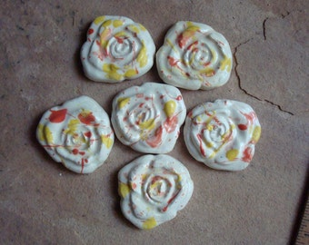 Yellow & Pink Rose Ceramic Clay Pottery Tiles for Mosaic, Home Decor, Craft Supplies