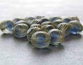 Blue Gold Oval Swirl Czech Glass Bead 10mm : 12 pc Czech Blue 10mm Oval