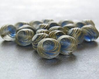 Blue Gold Oval Swirl Czech Glass Bead 10mm : 12 pc Czech Blue 10mm Oval