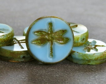 Turquoise Blue Silk Picasso Dragonfly 17mm Czech Glass Bead : 2 pc Czech Blue Turquoise Dragonfly Bead