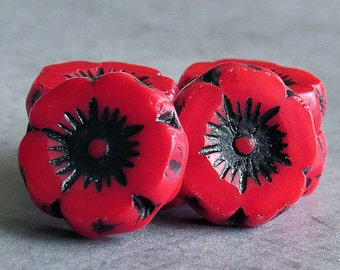 12mm Red Black Picasso Czech Glass Daisy Flower Bead  : 6 pc Poppy Red Czech Flower