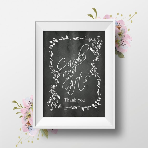 Printable wedding sign cards gifts 8x10 for Table 6 gift card