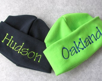 TWO Personalized Embroidered Monogrammed Baby Hats