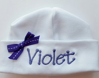 Personalized Embroidered Baby Hat with Purple Bow