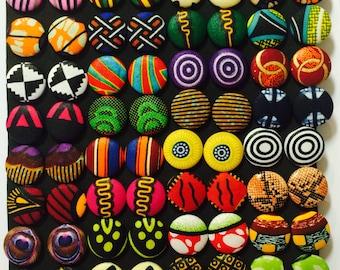 Medium Ankara Button Earring