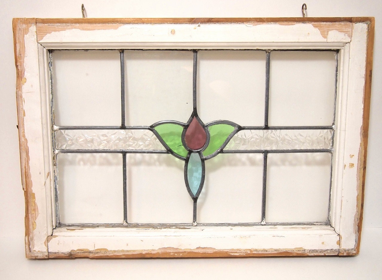 vintage wood frame stained glass window flower purple green