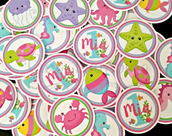 Under the Sea Birthday Party Minis / Mini Tags for Table Confetti, Use to make Cupcake Toppers and More / Set of 75 - 0022