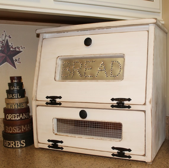 Country Kitchen Bread: Rustic Antiqued Bread Box Vegetable Bin Wooden By