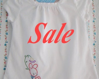 SALE - Little Peasant Bunny Top - Hand Embroidered Ready To Ship (Size 6-9 months)