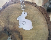 Vegan Necklace-Vegan Jewelry-Mini Bunny with Heart Necklace-Eco Friendly-Recycled Metals